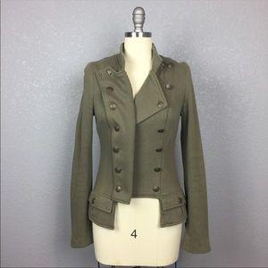 Army green military style knit blazer size 4